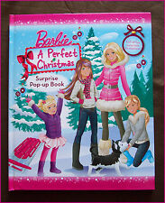 BARBIE - A PERFECT CHRISTMAS - Hardcover Surprise Pop-up Xmas Story Book - NEW