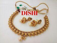 South Indian DISHI Fashion Choker Earing Bollywood Ethnic Gold Plated  Set