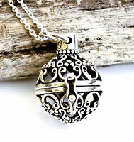 925 Sterling Silver Bali Style Filigree Ball Locket Pendant and Chain Necklace