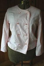 Vintage Harold Williams Pink White Striped Cook Chef Uniform Jacket Shirt Blouse