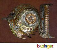 GIOVANNI SCHOEMAN Modernist Fish Sculpture Bronze Bonded Mixed Metal Wall Art