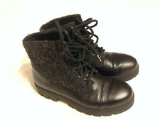 ALBERTO  FERMANI  BLACK  LEATHER & TEXTILE  LACE-UP  ANKLE  BOOTS  SZ  38.5/US8