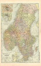 1911 VICTORIAN MAP ~ NORWAY & SWEDEN ~ ENVIRONS CHRISTIANIA STOCKHOLM
