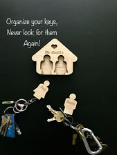 Personalized House Key Chain Holder w.2 Keyrings for Gift , New Home, Home Decor