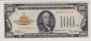 $100 1928 GOLD CERTIFICATE IN HIGH AU-CU CONDITION