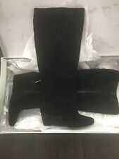 Jessica Simpson Knee High Black Suede Wedge Boots New With Box