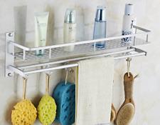 Bath Shower Shelf Space aluminum Shampoo Basket Storage rack Towel bar with hook