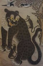 Very Fine Large Korean Joseon Dynasty Tiger with 2 Cubs & 2 Magpies MinHwa