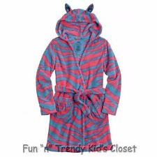NWT Justice Girls Size 5 Zebra Fleece Robe Hooded Animal Ears Belted Sash NEW