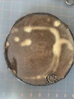 "EARTH POTTERY 8"" FOREST BROWN FOOTED PLATE  AWESOME  MARKED ON TOP AND BOTTOM"