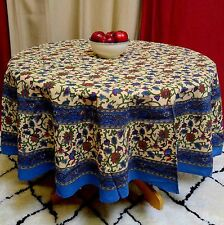 "Handmade 100% Cotton Hand Block Print Floral Vine 72"" Round Tablecloth Blues"