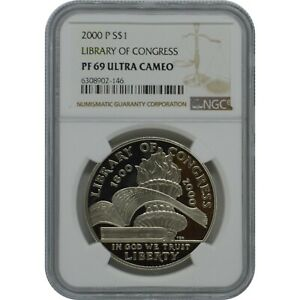 2000 P Library Of Congress Proof Silver one Dollar Coin NGC PF69 Ultra Cameo