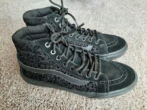 Vans Black Velvet & Suede Mix High Tops, Size 6
