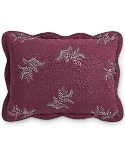 Pair of Martha Stewart Collection Stenciled Leaves Standard Shams Wine $120