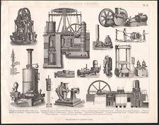 1870 Gravure originale mécanique hydraulique pompe à vapeur pompier presse