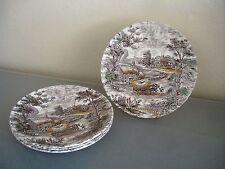 "4 Dinner Plates Yorkshire Staffordshire Ironstone Farm Scene Hay Wagon 9 7/8"""