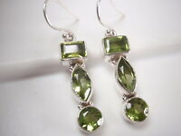 Faceted Peridot Marquise 925 Sterling Silver Dangle 3-Gem Earrings