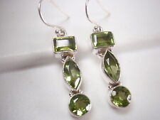 Sterling Silver Dangle 3-Gem Earrings New listing Faceted Peridot Marquise 925