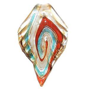 P2654 Multi-Colored Silver Foil Fluted Leaf 62mm Lampwork Glass Pendant Drop