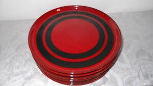 6 Speiseteller  24 cm  Melitta Ceracron  Rot  Schwarz