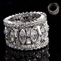 Silver Gorgeous Size Sapphire Jewelry Women 6-10 Wedding White 925 Rings