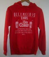 """Vintage """"All I Need Is This DIET COKE"""" Hoodie Sweatshirt Gildan S Red Pullover"""