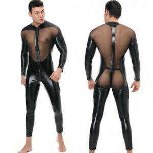 Men Sexy Bodysuit Faux Latex Leather Body Stockings Pantyhose Underwear Lingerie