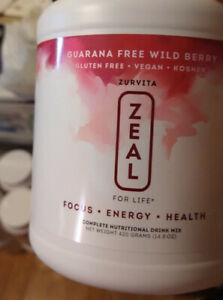 Zurvita Zeal for Life 30-Day Canister, 420 Grams- WildBerry Free Guarana -New!!