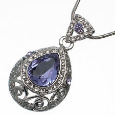7.62 Ct Pear Cut Style Shape Purple Amethyst CZ 18K White Gold Plated Pendant