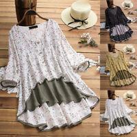Women Casual Irregular Floral Print Patchwork Long Sleeve T-Shirt Top Blouse US