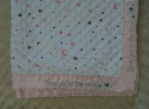 Just Born I Love You To The Moon Elephant Baby Blanket Pink White Stars Gray