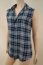 Silk Checked Sleeveless Blouses for Women