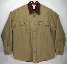 Columbia Tan Khaki Canvas Fleece Lined Metal Button Shirt Jacket Mens 2XT TALL