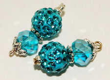 2pc Set of Blue Crystals Charms C100