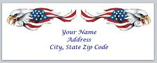 30 Personalized Return Address Labels US Flag Buy 3 Get 1 free(usf1)