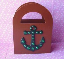Handmade Brown & Green Anchor Wooden Gift Bag Remote Make Up Caddy Holder