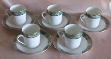 Série de 5 tasses litron à moka café porcelaine de Limoges blanche marbré vert