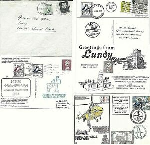 LUNDY - 5 covers with mixed stamps UK - LUNDY - including Bird topic (k36)