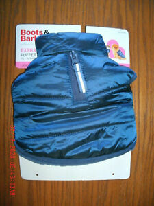 NEW Boots & Barkley Puffer Jacket for XS dog blue on black iridescent coat lined