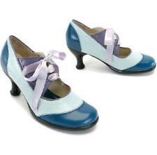 JOHN FLUEVOG FELLOWSHIP HI LUCILLE LACE-UP MARY JANE HEELS 10.5 BLUE PUMPS SHOES