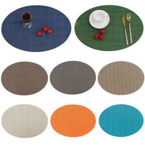 Oval Solid Color Placemat Non-Slip Heat Insulation Coaster Table Tableware Mats