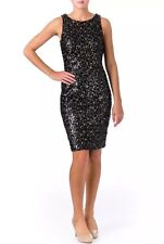 SUE WONG  Black and Gold Sequined Cocktail Dress Size 10 $447.50 NWT