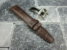 22mm Brown Grain Leather Strap Deployment Buckle Watch Band SET Top Gun PILOT V