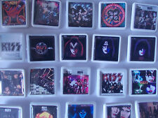 COLLECTION OF 50 DIFFERENT KISS ALBUM COVER BADGES /PINS FREE POSTAGE IN THE UK