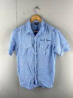 Rip Curl Men's Short Sleeved Button Up Shirt Size S Blue
