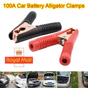 2x Crocodile Car Battery Clips HEAVY DUTY 100A Alligator Test Clamps 9cm Copper