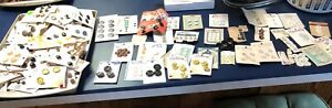 box lot of vintage / antique estate find buttons metal plastic more on cards
