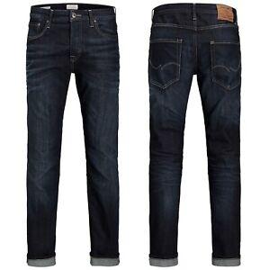 Mens JACK & JONES Regular Fit Blue Denim Jeans New Clark 318 Sale Stretch 30-38