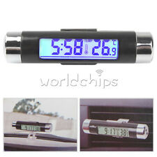2 in 1 Digital LED Car Clock Thermometer Temperature Auto LCD Backlight