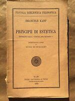 PRINCIPII DI ESTETICA - Emanuele Kant - Laterza - 1935